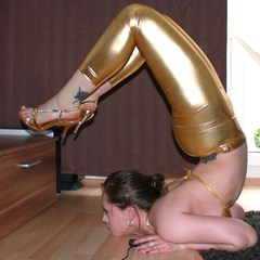 Yoga Girl in Gold Wet Look Leggings - Lauryna