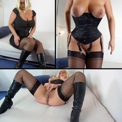 Solo mit Korsett, Nylons und Stiefel - danjela01