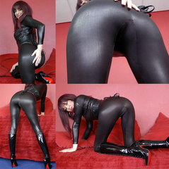 Wetlook Catsuit und Rattenscharfe Stiefe - Juicy-Julie