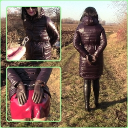 Handcuffedinlongshinyjacket - bondageangel